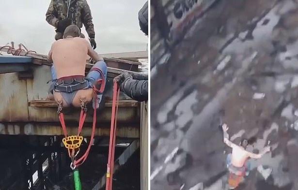 俄男子在臀部穿孔固定安全绳索 从15米高跳下蹦极