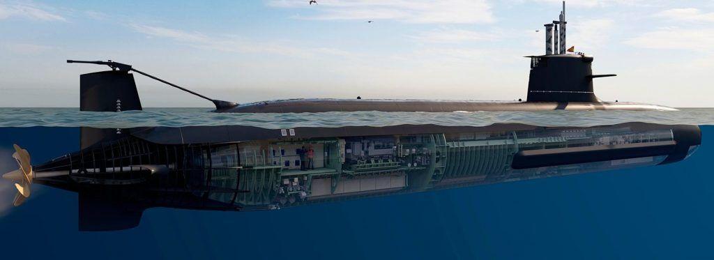 西班牙S-80潜艇在水面航行想象图