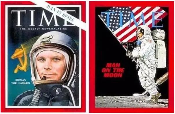 上图_ 美苏太空竞赛时,美苏出现在《时代周刊》上的相关封面画报