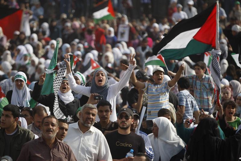 """2011年5月13日,约旦凯拉迈村,参加纪念巴勒斯坦""""灾难日""""集会的民众挥舞巴勒斯坦国旗和约旦国旗。数千名约旦民众和巴勒斯坦难民在凯拉迈村参加纪念巴勒斯坦""""灾难日""""集会,纪念第63个巴勒斯坦""""灾难日"""",支持巴勒斯坦难民的回归权。"""