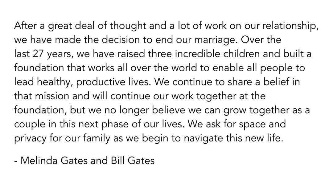 比尔·盖茨离婚声明。