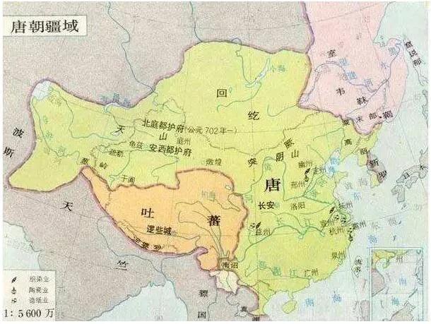 上图_ 唐高宗总章二年(669年)唐朝疆域图