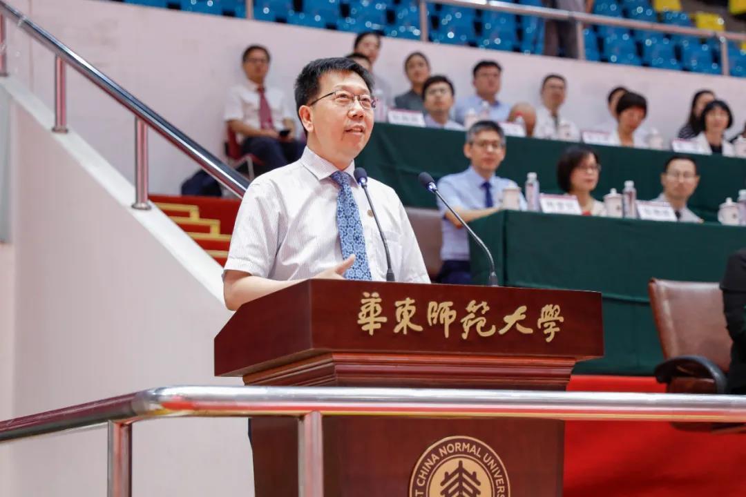 华东师范大学校长钱旭红在开学典礼上致辞。 图片来自华东师大微信公号