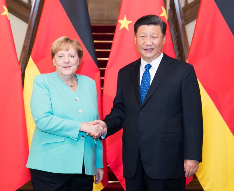 △2019年9月6日,习近平主席在北京会见德国总理默克尔