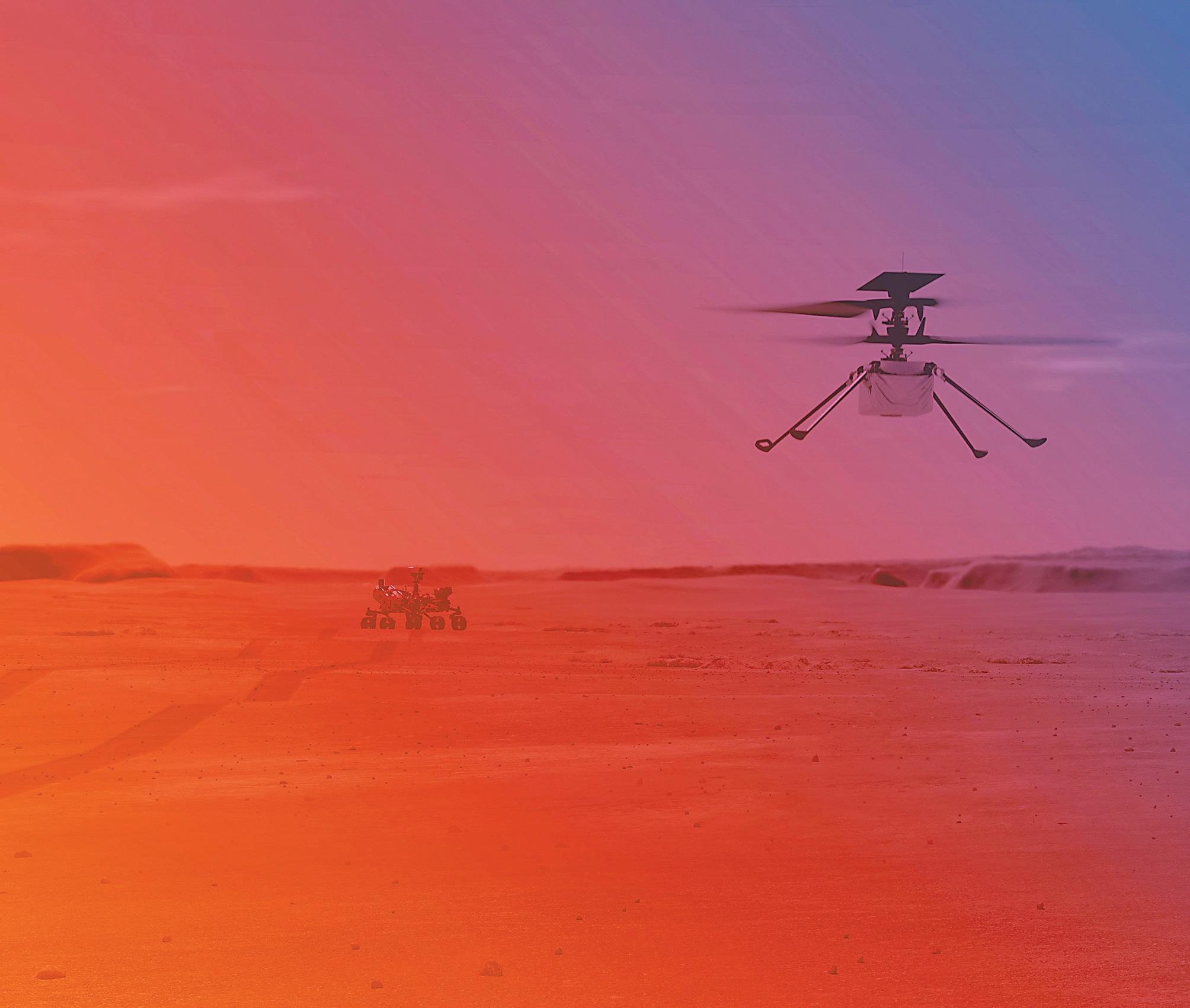 """""""机智""""号在火星试飞的演示图。"""