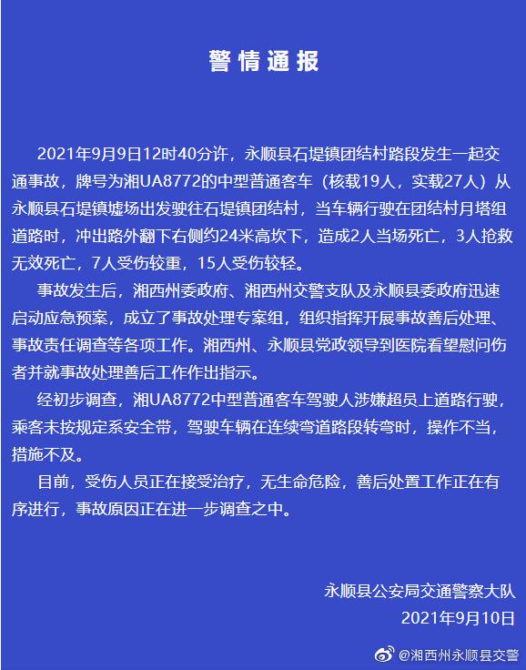 警方通报湖南永顺5死22伤事故:乘客未系安全带 驾驶车辆在连续弯道路段转弯时驾驶人操作不当