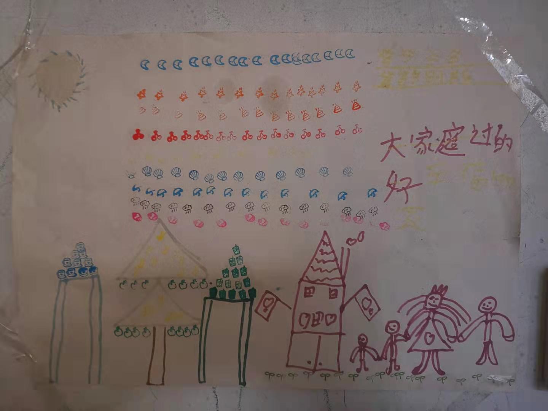 倪万辉夫妇去世前,大儿子佳佳写的字条和画的画。
