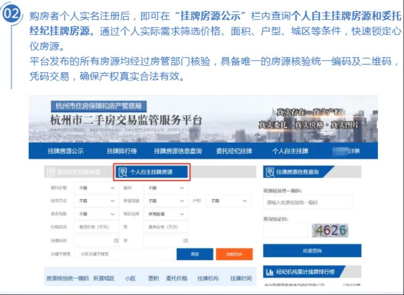 ▲图/杭州市住房保障和房产管理局官网对挂牌房源的介绍