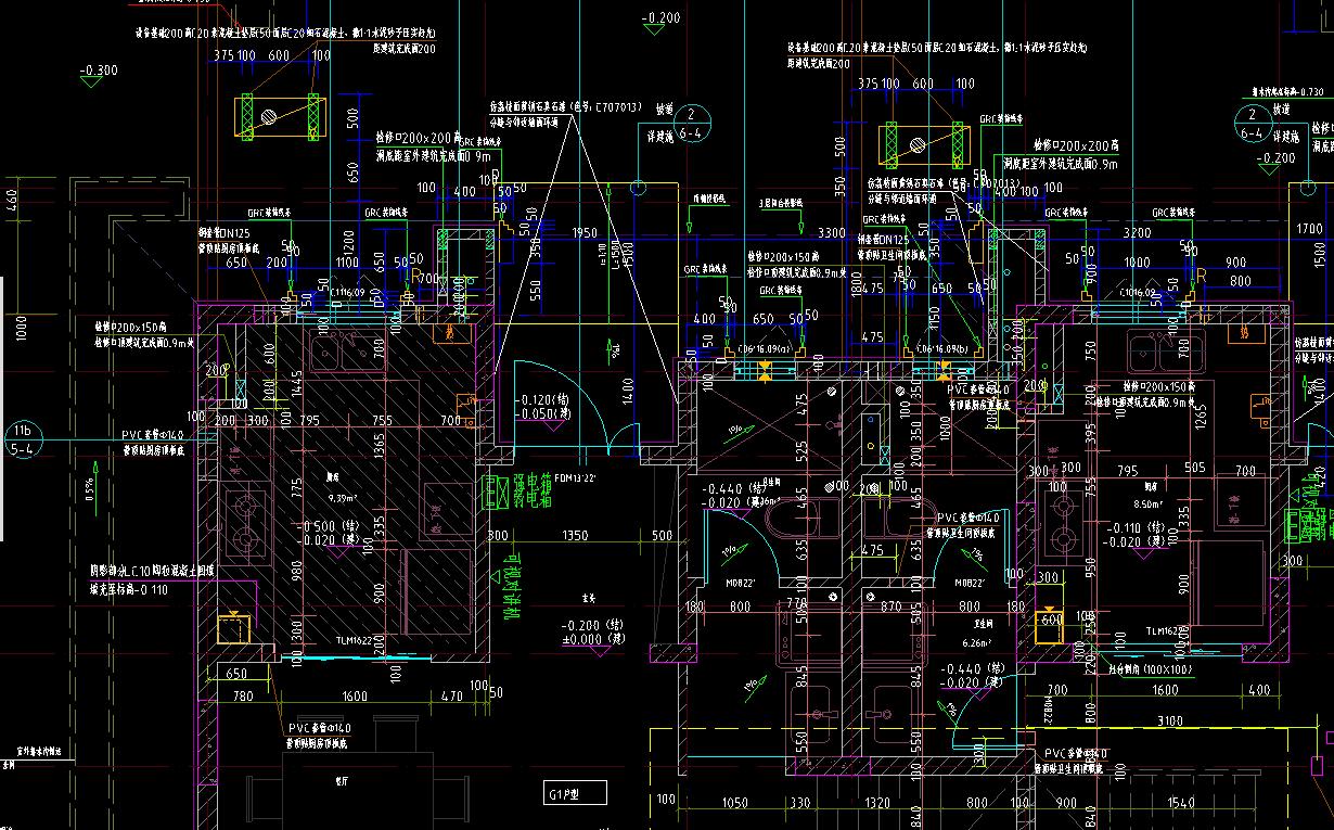 陈盈工作时的CAD图纸(局部)。