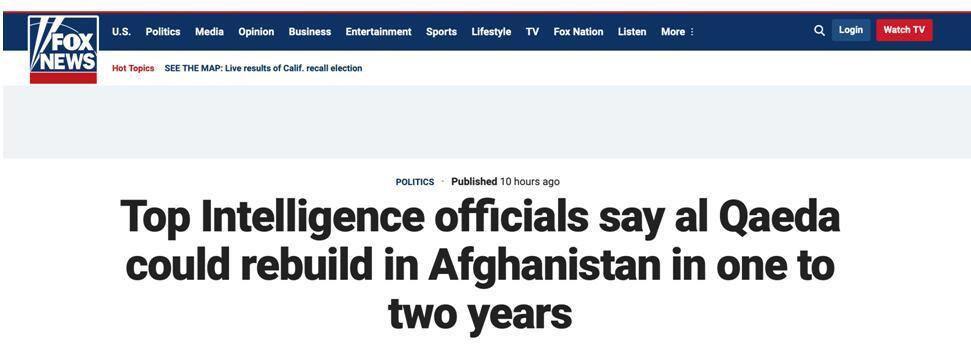 """美國防情報局長:""""基地""""組織或在一兩年內威脅美國本土"""