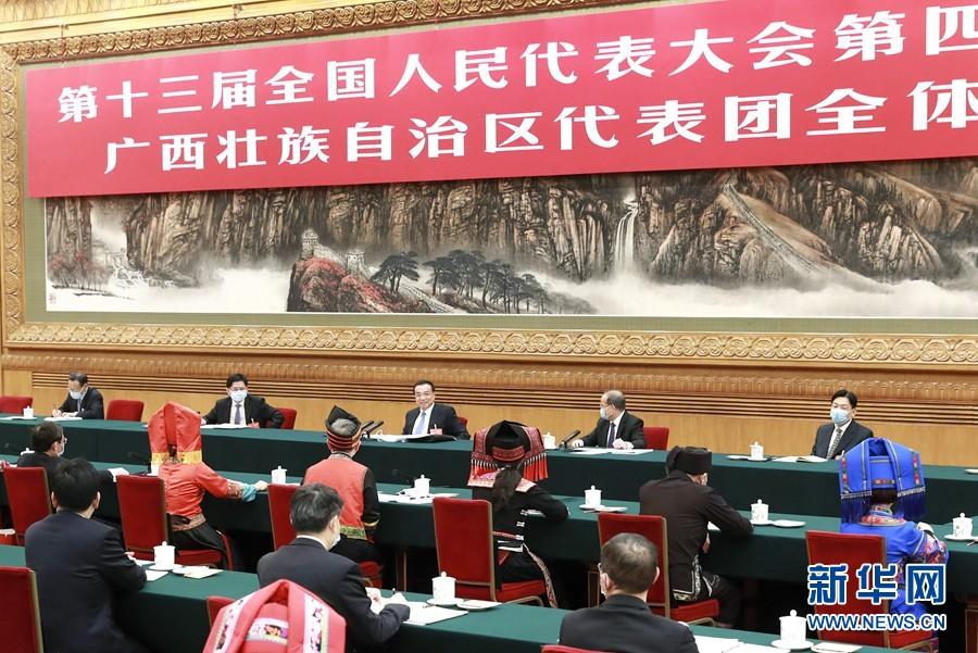 3月6日,中共中央政治局常委、国务院总理李克强参加十三届全国人大四次会议广西代表团的审议。新华社记者 庞兴雷 摄