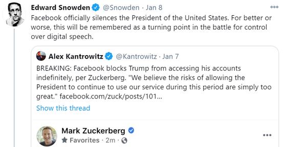 """爱德华·斯诺登(EdwardSnowden)推文:脸熟正式让美国总统闭嘴了。不管会更好还是更坏,这将会是""""数字言论""""(digitalspeech)控制权之争的转折点。"""