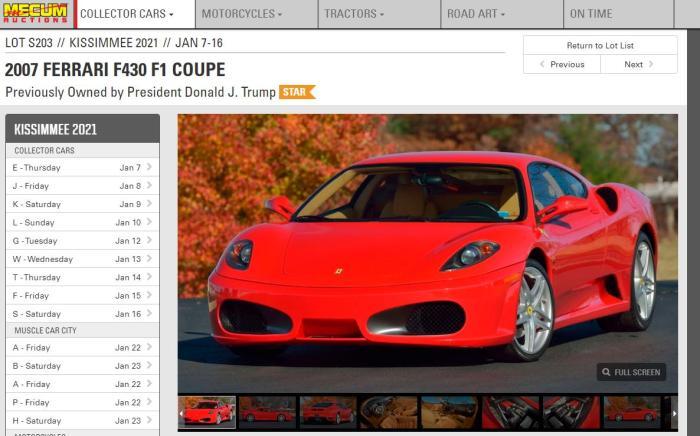曾属特朗普的法拉利跑车将拍卖 估价40万美元起
