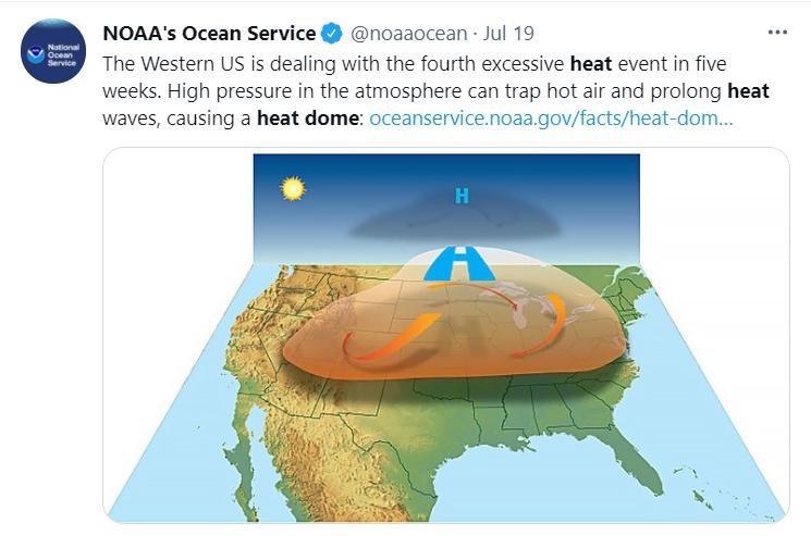 """模拟""""热穹顶""""形成演示。/美国国家海洋和大气管理局推特截图"""