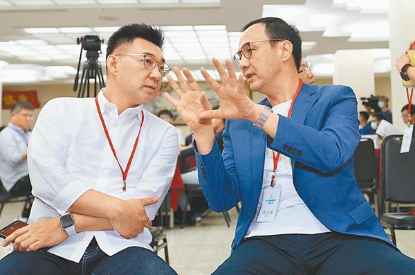 """江启臣、朱立伦。(图片来源:台湾""""中时新闻网"""")"""