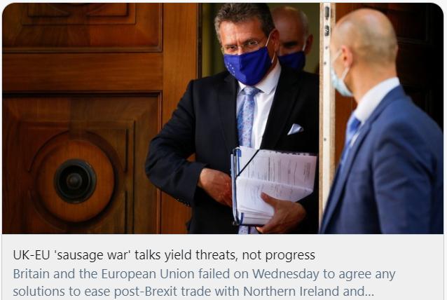 """英国与欧盟关于""""香肠战争""""的对话带来的是威胁而不是进展。/推特截图"""