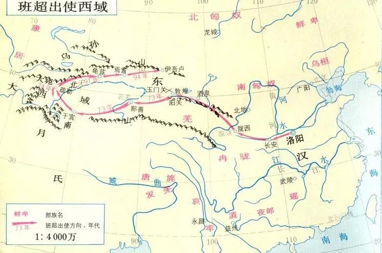 ▲班超出使西域路線圖。