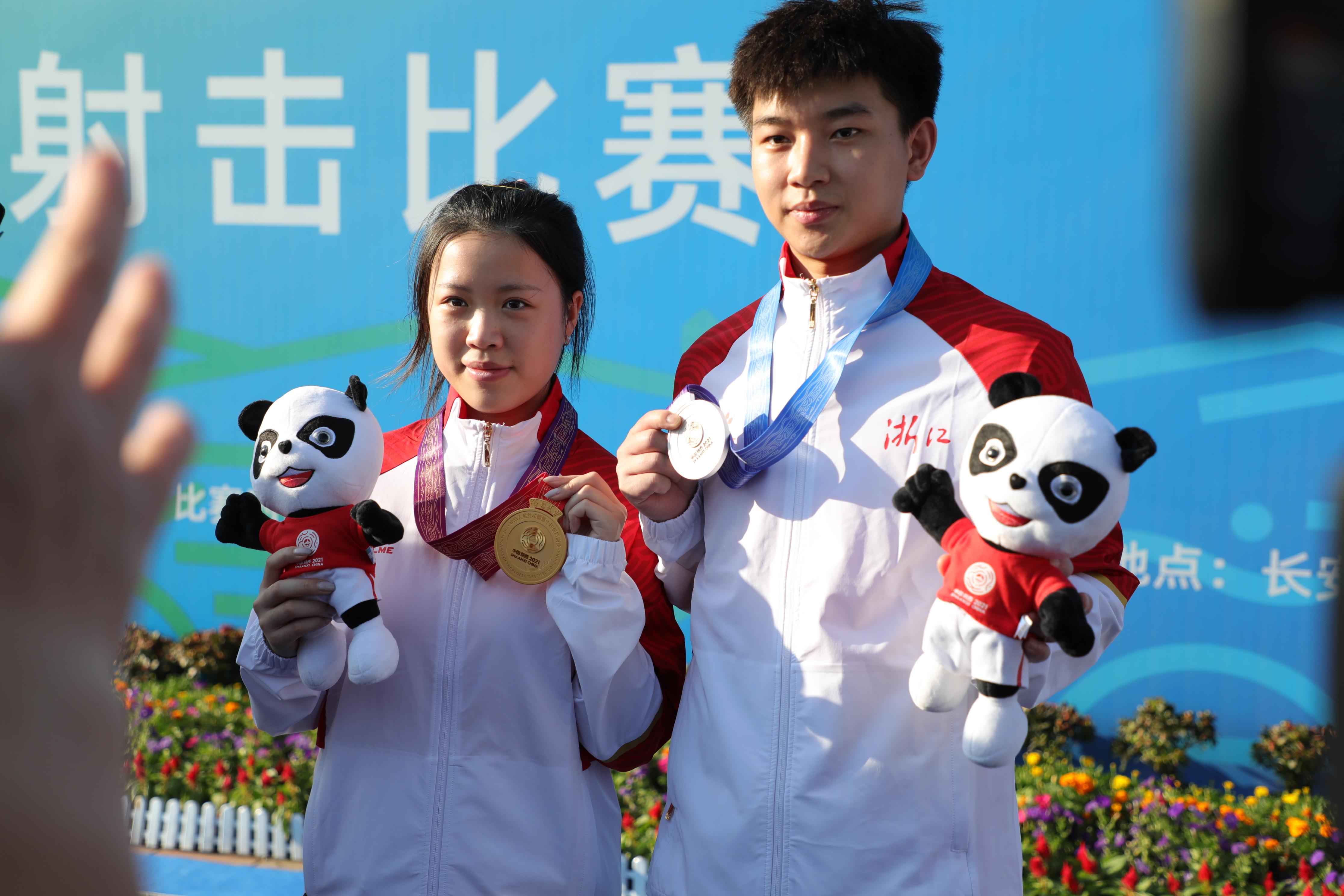 杨倩、杨皓然组合全运夺金。
