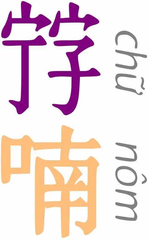 ▲ 左边为喃字,每个字都是由两个汉字构成;右边是越南国语字