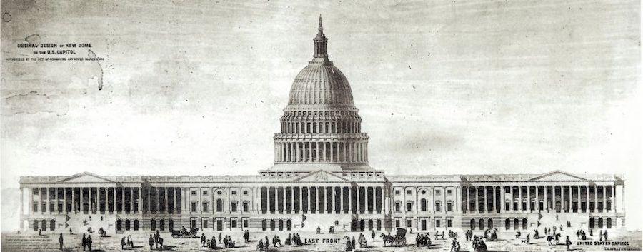 三层穹顶是由托马斯·U·沃尔特(Thomas  U. Walter)设计的。