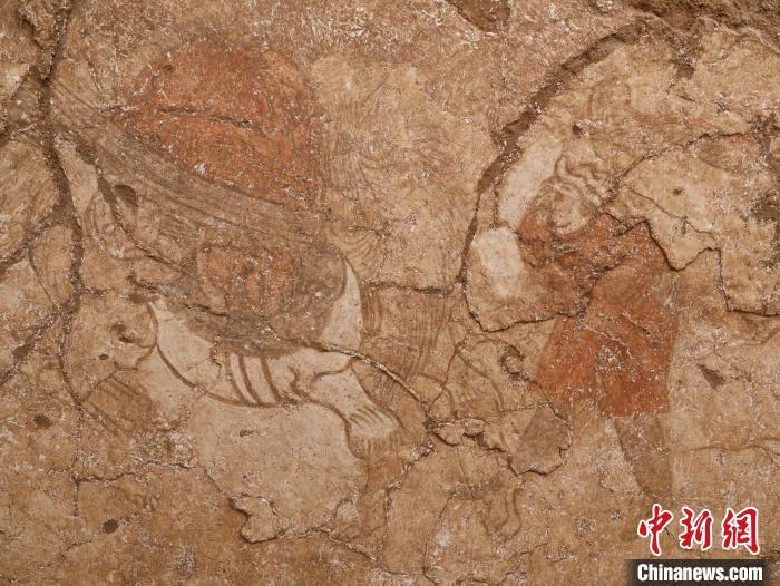 唐康善达墓墓道东壁壁画胡人牵驼图。 陕西省考古研究院供图