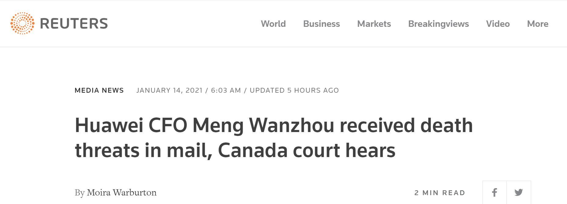 """【上海吸奶】_外媒:庭审曝光孟晚舟在温哥华多次收到死亡威胁,""""信件中有子弹"""""""