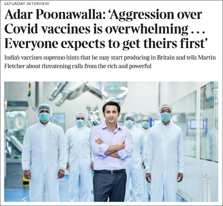 惧怕本国疫情 印度疫苗生产商CEO携家人前往英国