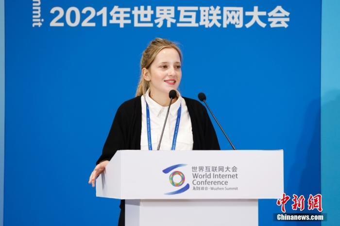 图为意大利网红博主瑞丽致辞。 <a target='_blank' href='http://www.chinanews.com/'>中新社</a>记者 韩海丹 摄