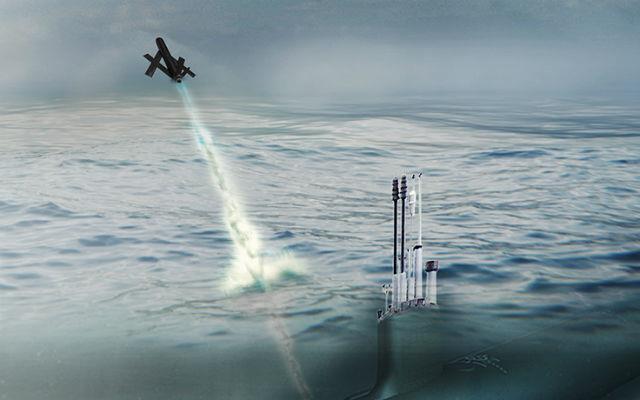 美军潜艇从水下发射无人机示意图
