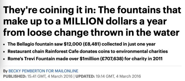 喷泉一年能赚取百万美元,并且都捐赠给慈善机构/google新闻