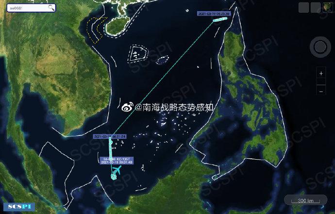 美军RC135S侦察机进入南海 专门搜索弹道导弹信号