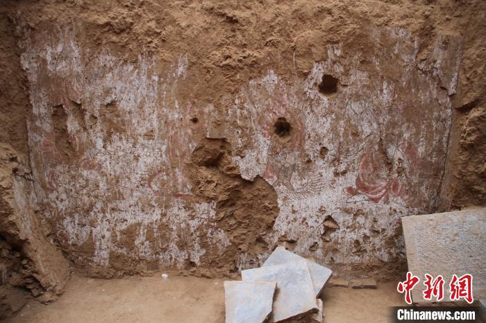 唐杨知什夫妇墓墓室东壁乐舞图壁画。 陕西省考古研究院供图