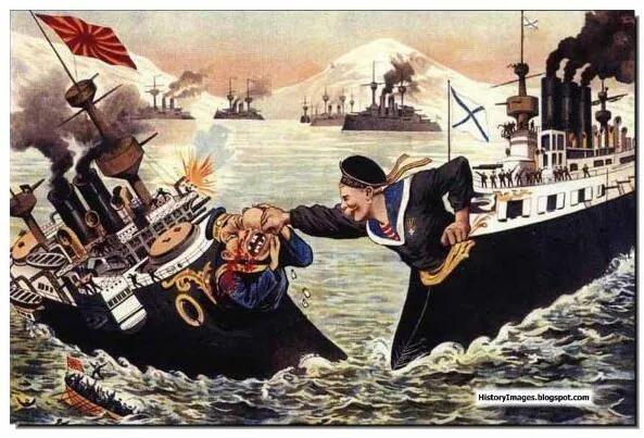 上图_ 日俄战争前期的俄国漫画