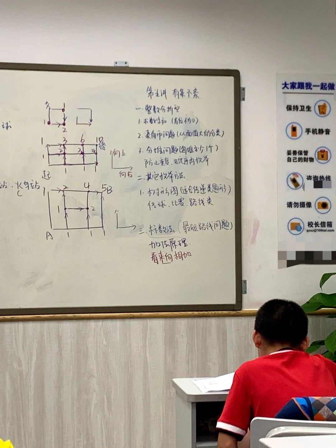(一名广东四年级学生在校外培训班上课。)