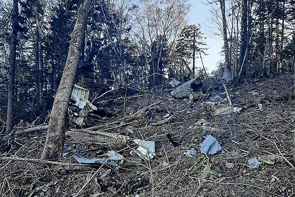 当地时间2021年9月23日,俄罗斯哈巴罗夫斯克地区,赫列布托夫山区发现了安-26飞机的残骸。人民视觉  图
