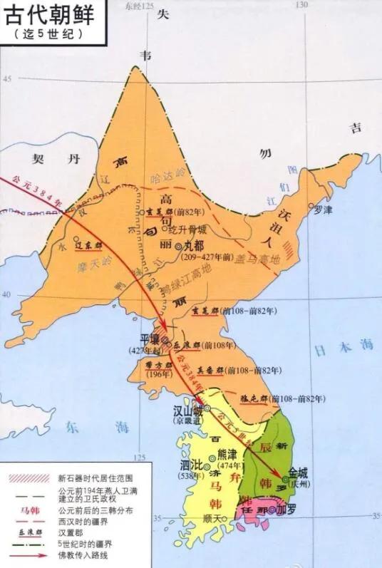 上图_ 南北朝时高句丽与朝鲜南部诸国