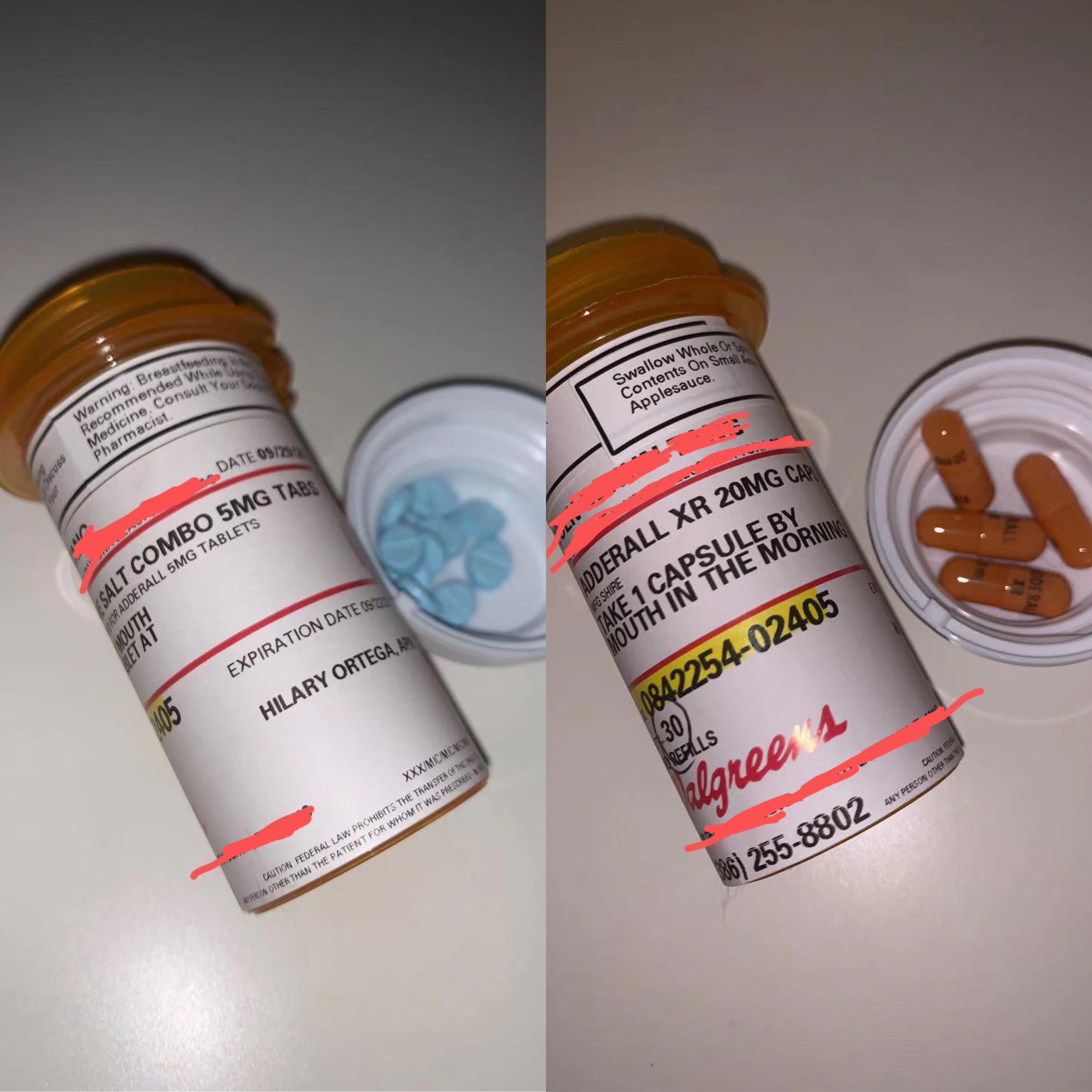 左为阿德拉速效5mg,右为20mg,在美国阿德拉同为管制药物,用量严格控制。