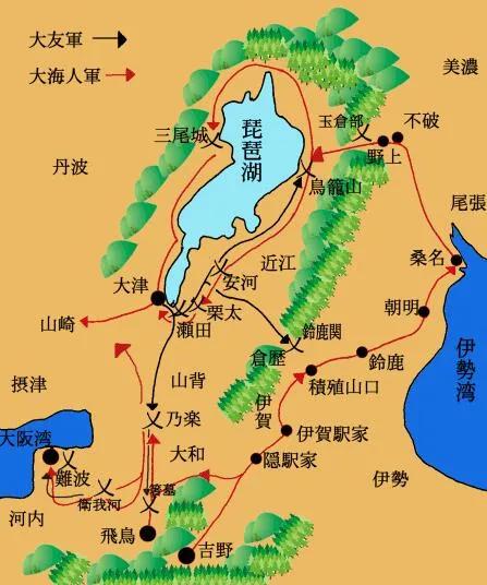 上图_ 壬申之乱是发生在672年(天武天皇元年)的日本古代最大规模的内乱