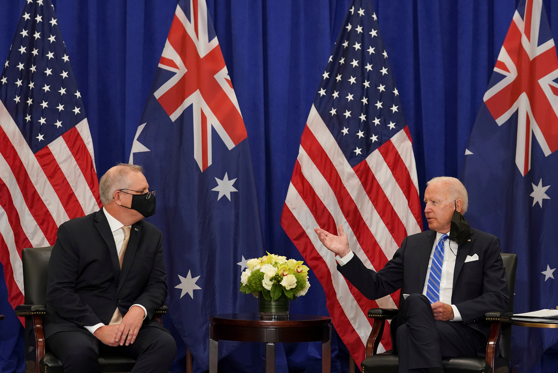 当地时间9月21日,美国总统拜登与澳大利亚总理莫里森在纽约会面 图源:澎湃影像平台