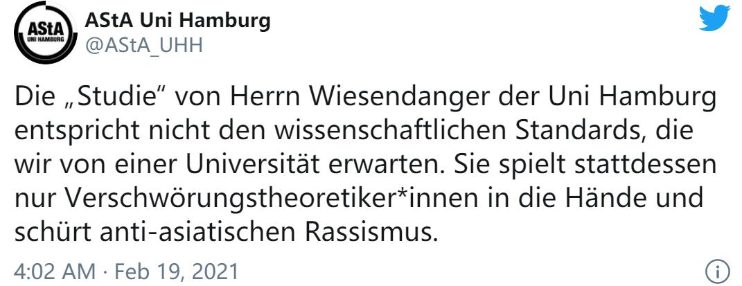 汉堡大学学生委员会推特截图