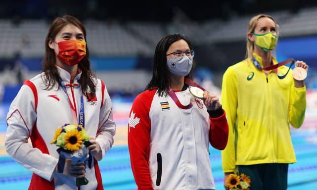 ● 由左至右分别为中国选手张雨霏、加拿大选手麦克尼尔、澳大利亚选手麦基翁