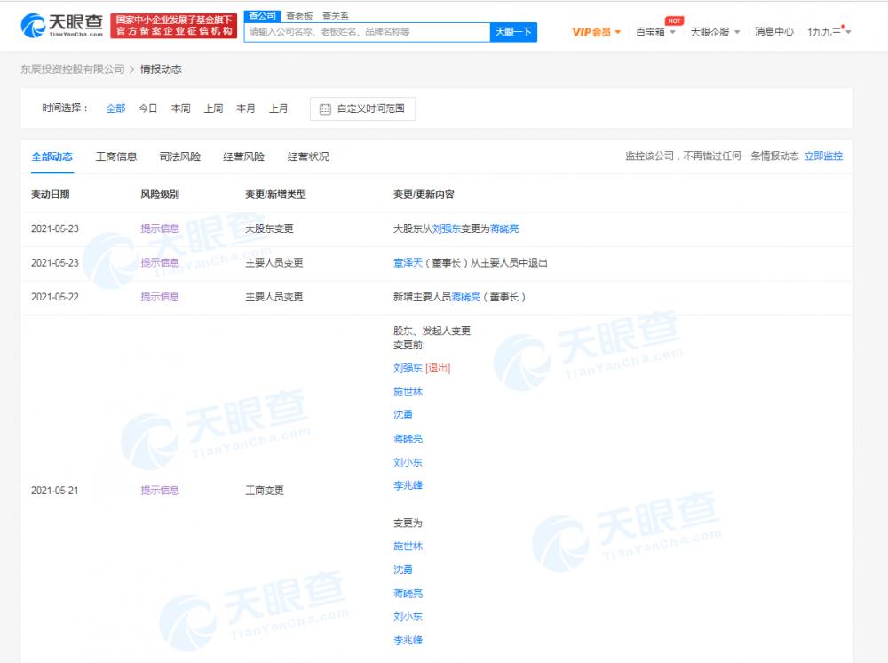 东辰投资控股有限公司发生多项工商变更:刘强东退出股东行列 章泽天退出主要人员