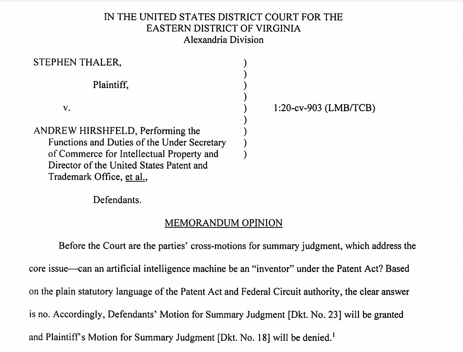 美国联邦法院:人工智能不能成为专利的发明者,因为它不是人