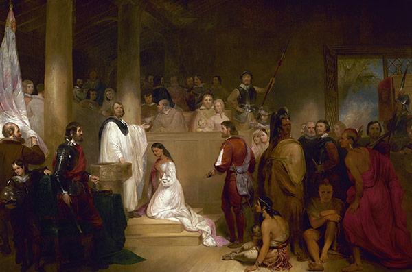 波卡洪塔斯是维吉尼亚州的亚尔冈京印地安人(即波瓦坦人)酋长的女儿。她最著名的传闻就是救了英国上尉史密斯 (John Smith) 的生命,同时为了促进波瓦坦人及英国殖民间的和平,她甚至改信基督教,并嫁给一位来自詹姆士镇的移民约翰·罗尔夫 (John Rolfe) 。该画描绘了她正在接收洗礼时的画面,她也是迪士尼动画电影《风中奇缘》中女主角的原型。