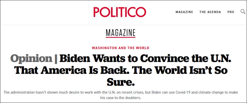 """Politico""报道截图"