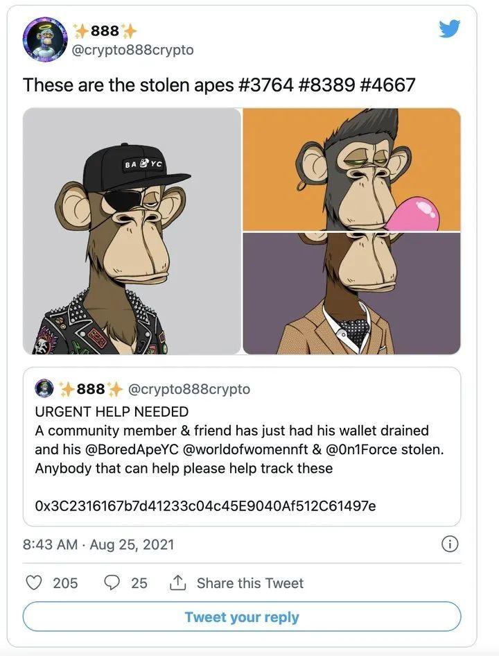 被盗了3个 BAYC 头像,共价值25万美元