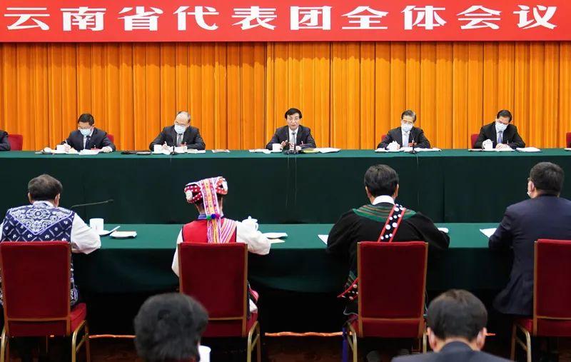 3月7日,中共中央政治局常委、中央书记处书记王沪宁参加十三届全国人大四次会议云南代表团的审议。新华社记者 燕雁 摄