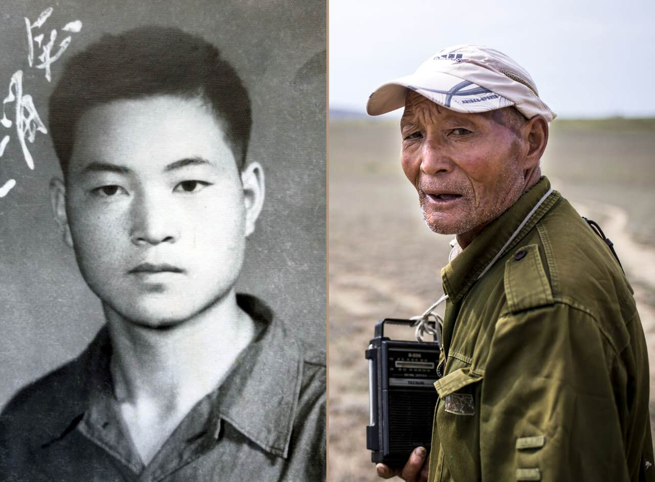 拼版照片:左图为魏德友年轻参军时的照片;右图为放羊途中的魏德友(资料照片)。新华社发