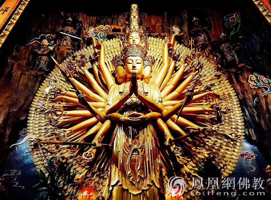江西庐山东林寺千手观音圣像。(图片来源:凤凰网佛教 摄影:融历)