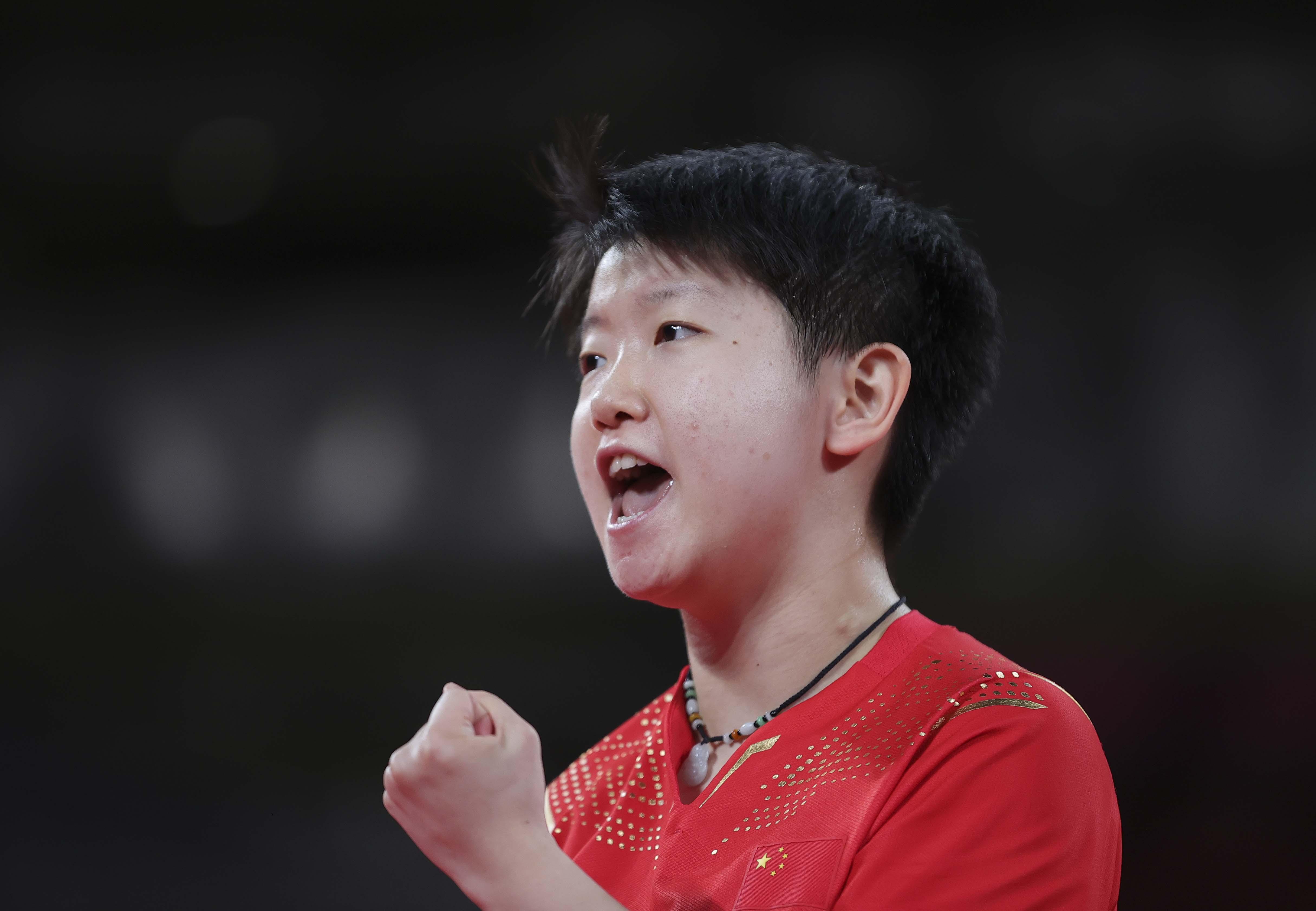 8月5日,中国队选手孙颖莎在比赛中。新华社记者王东震摄